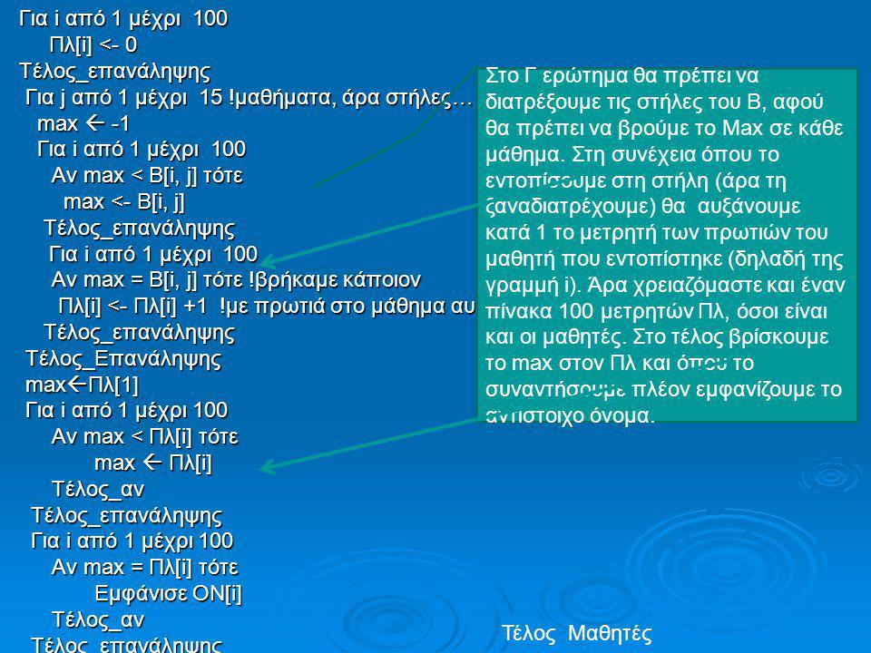 Για i από 1 μέχρι 100 Πλ[i] <- 0 Τέλος_επανάληψης Για j από 1 μέχρι 15 !μαθήματα, άρα στήλες… max  -1 Αν max < B[i, j] τότε max <- B[i, j] Αν max = B[i, j] τότε !βρήκαμε κάποιον Πλ[i] <- Πλ[i] +1 !με πρωτιά στο μάθημα αυτό Τέλος_Επανάληψης maxΠλ[1] Για i από 1 μέχρι 100 Αν max < Πλ[i] τότε max  Πλ[i] Τέλος_αν Αν max = Πλ[i] τότε Εμφάνισε ΟΝ[i]